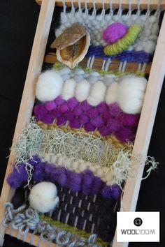 My taste - Mi gusto - Hand woven wall hanging // weaving // telar decorativo… Pin Weaving, Weaving Art, Tapestry Weaving, Loom Weaving, Yarn Crafts, Diy And Crafts, Plywood Art, Weaving Wall Hanging, Basket Crafts