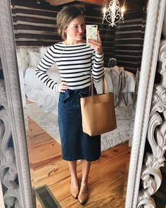 "4,952 curtidas, 56 comentários - Courtney Toliver Guthrie (@courtneytoliver) no Instagram: ""When in doubt, wear a denim skirt with a striped top.. it never fails! My top is one of my all time…"""