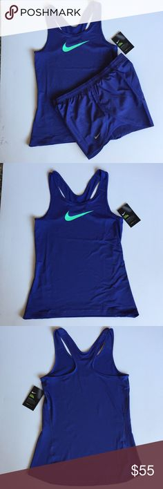 Nike Running Tank and Shorts Set Medium NWT, both top and bottom are size medium. Great periwinkle blue color. Nike Pro Cool Racerback Tank. Nike Dry Shorts, have a cool print (see pics). Both have Dri-Fit technology. Thanks for shopping my closet! Nike Shorts