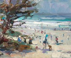 """Painting in California 24 Beach- fiesta trio (sold)"" - Original Fine Art for Sale - © Roos Schuring"