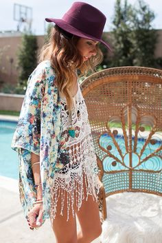 kimonos for coachella purple hat summer outfits womens fashion clothes style apparel clothing closet ideas