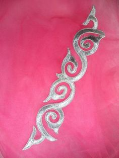 Silver Metallic Embroidered Applique Iron On Patch Measures: x Use for any of your craft projects. Iron on, sew on or glue on. Blessings from Glorys House! :) If you need more than what is listed please let us know and we will add more inventory. Embroidery Suits Design, Hand Embroidery Designs, Beaded Embroidery, Embroidery Stitches, Embroidery Patterns, Lace Design, Pattern Design, Motifs Perler, Maori Designs