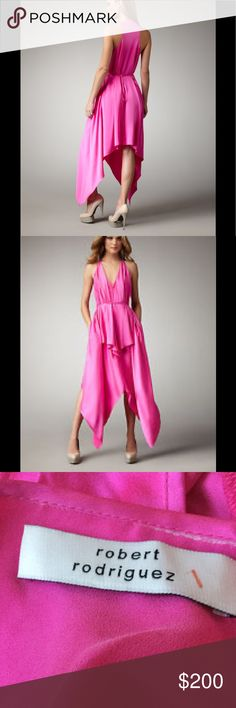 Robert Rodriguez Silk Handkerchief Dress Robert Rodriguez Handkerchief Dress Robert Rodriguez took a cue from the rich shades and sweeping styles of the 1970s when creating this dress, but modernized its appearance with a handkerchief hem. For your next event, finish this striking look with nude pumps. Hot pink satin. Deep V neckline; racerback. Black or tonal pink satin belt ties at waist, accenting figure. Handkerchief hem hits at ankle. Rayon. Imported. Robert Rodriguez Dresses…