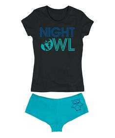 Look at this Black 'Night Owl' Tee & Turquoise Hipster on #zulily today!