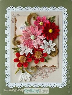 *QUILLING ~ Greeting Card Quilling technique quilling paper strips Flower Fantasy
