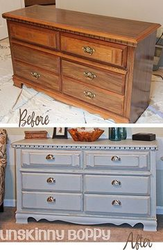 How to paint furniture (DIY).  Save money and update an old piece of furniture.
