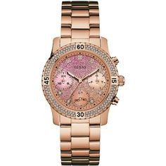 Guess Pop Sugar Confetti Rose Goldtone Stainless Steel Analog Bracelet... ($165) ❤ liked on Polyvore featuring jewelry, watches, rose gold, stainless steel bracelet watch, quartz movement watches, stainless steel wrist watch, bracelet watch and guess jewelry