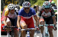 France's Arthur Vichot (C) leads the breakaway during the 191 km fourteenth stage of the 100th edition of the Tour de France cycling race on July 13, 2013 between Saint-Pourcain-sur-Sioule and Lyon, central eastern France. Photograph by: PASCAL GUYOT, AFP/Getty Images