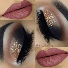 21 Insanely Beautiful Makeup Ideas for Prom: #6. GOLD GLITTERY EYES + MAUVE LIPS