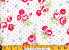 JAPANESE Fabric Lecien FLOWER SUGAR ~ 30747-20 White w/ Pink Dot Pink Roses #LECIENFromJapan