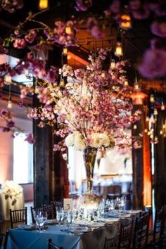 Pink Blossom Indoor Wedding Reception