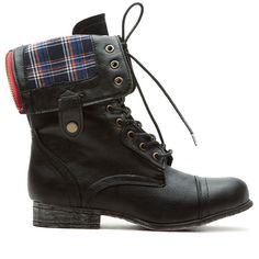 CiCiHot Black Torquoise Faux Leather Plaid Print Fold Over Combat... ($40) ❤ liked on Polyvore