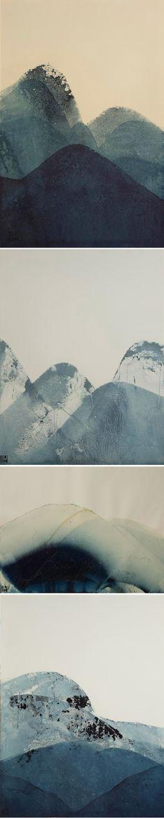 ink mountain, jealous curat, indigo ink, mountains illustration, contemporary art, lynn pollard, illustration art, blue mountains, famous artist