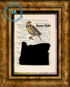 OREGON State Black Silhouette, State Bird, State Nickname Art - Beautifully Upcycled Vintage Dictionary Page Book Art Print by CocoPuffsArt on Etsy