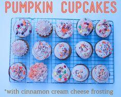 Pumpkin cupcakes with cinnamon cream cheese frosting, via #darciebakes. #cupcakes #pumpkin #fallbaking