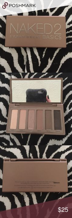 "Urban Decay Naked 2 Basic only swatched, and my nail nicked the shade ""Frisk"". open to trades!!! it will come with the box, I'm just at my grandmas now so I can't take a pic of it!! Urban Decay Makeup Eyeshadow"