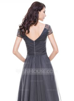 A-Line/Princess V-neck Asymmetrical Ruffle Beading Sequins Zipper Up Sleeves Short Sleeves No Other Colors Spring Summer Fall General Plus Tulle US 2 / UK 6 / EU 32 Evening Dress Beach Bridal Dresses, Wedding Party Dresses, Bridesmaid Dresses, Vestidos Fashion, Women's Fashion Dresses, Tulle, Vestidos Mob, Robes Quinceanera, Ruffle Beading