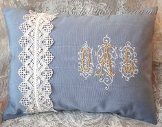 Antique Lace Embellished Custom Embroidered Baroque Monogram Handmade Pillow or Cushion Cover