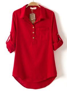 Blusa solapa bolsillo manga larga-rojo