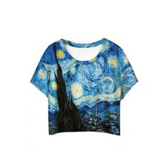 Oil Painting Print Short Sleeve Cropped Loose Tee (€16) ❤ liked on Polyvore featuring tops, t-shirts, crop tops, shirts, tee-shirt, pattern t shirt, short sleeve graphic tees, crop t shirt and short t shirt