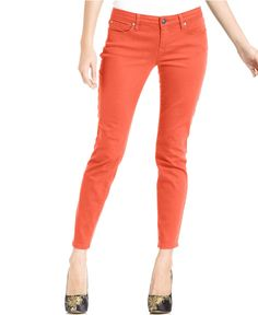 Jessica Simpson Jeans, Kiss Me Skinny Cropped Colored Wash in GEORGIA PEACH   #macys
