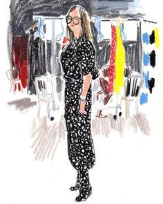 October 1st Marimekko's design manager Taru Lahti rocking a complete pattern look backstage before the show. (at Palais de Tokyo)