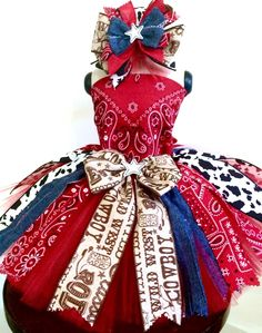Red tulle & denim cowhide & rodeo ribbon make up this bandana fabric tutu with Baby Pageant, Pageant Wear, Pageant Dresses, Quinceanera Dresses, Rodeo Outfits, Dance Outfits, Kids Outfits, Fabric Tutu, Tulle Tutu