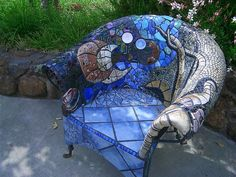 Chair mosaic sculpture, originally uploaded by laRuth. These chairs from Western Australia look surprisingly comfortable. Mosaic chair at the Imagery winery, originally uploaded by ma… Mosaic Crafts, Mosaic Projects, Mosaic Art, Mosaic Glass, Mosaic Tiles, Glass Art, Stained Glass, Tiling, Mosaic Furniture