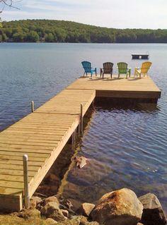 Cottage Patio, Urban Cottage, Lake Cottage, Lake Dock, Boat Dock, Floating Dock, Floating In Water, Building A Dock, Lake Landscaping