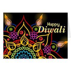 Shop Diwali flower Rangoli with bright oil lamps Card created by Annegelic. Diwali Party, Diwali Diya, Diwali Celebration, Diwali Gifts, Diwali Greeting Cards, Diwali Greetings, Custom Greeting Cards, Diwali Goddess, Happy Diwali In Hindi