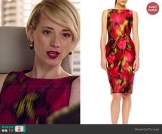 Margaux's pink and yellow printed sleeveless dress on Revenge. Outfit Details: http://wornontv.net/46863/ #Revenge