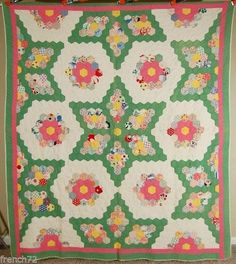 "Outstanding Vintage 30's Grandmother's Flower Garden Stars Antique Quilt | eBay french 72; hexagons are 1.5"" per side; 82"" x 90""; quilting around perimeter of each piece and in a straight line design in the border at 7-8 stitches per inch; back and hand stitched binding are white, thin batting"