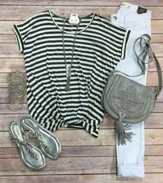 Striped Knotted Top: Grey from privityboutique