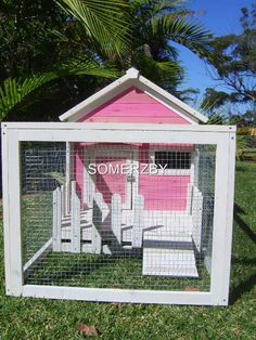 Rabbit Hutch Guinea PIG Cage RUN NEW Style Somerzby Cottage Pink White Gift | eBay