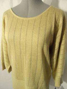 Nwt ELEMENTZ Metallic Eyelet Sweater top womens S,L,XL Black,Beige scoop dolman