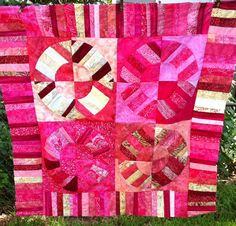 QUILT FOR SALE-Pink scrappy NYB top 46x46  Freemotion quilted spirals and wiggly lines Jenn-Alabama
