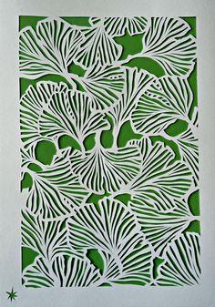 Gingko, hand made paper cut Illustration
