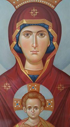 Panagia and Jesus Religious Images, Religious Icons, Religious Art, Madonna, Roman Church, Byzantine Icons, Art Icon, Orthodox Icons, Medieval Art