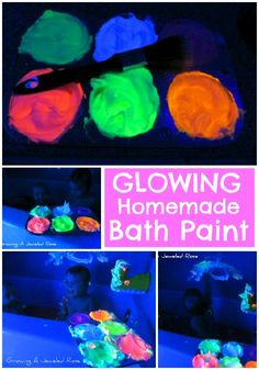 Could use on paper, too! Glowing Homemade Bath Paint! So easy to make and so fun!