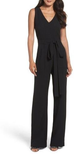 Women's Vince Camuto Jumpsuit - perfect for business meeting or late summer wine evening - June 22 2019 at Pantsuits For Women, Jumpsuits For Women, Schwarzer Overall Outfit, Night Outfits, Fashion Outfits, Work Outfits, Women's Fashion, Meeting Outfit, Black And White Romper