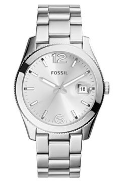 now i need a silver watch... Fossil 'Perfect Boyfriend' Bracelet Watch, 39mm available at #Nordstrom
