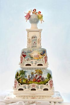 "Wowser! ~ Hand painted Amazing ""Rococo"" wedding cake ~ This is art!"
