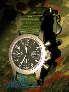 *Brand Name: Aristo   *Model Name: Titan Chronograph 2002   *Strap: NATO (Olive Drab 20mm)*   Owner's Name: K.M. (Kanagawa, Japan)    http://www.chronoworld.com/watch-straps-bands/military-outodoor-bands-straps/nato-g10-watch-strap-band-italian-silk-18mm-gray.html