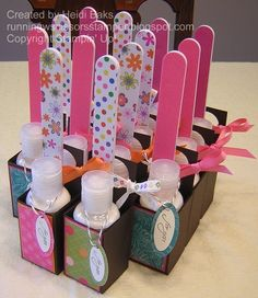 little lotion and nail file packages. Would be cute w polish too. Easy and affordable to do with Avon!!! Visit www.youravon.com/clulla  Polish on sale for 2.99  Lotion for .79 Nail file for .89  Cute gift for less than 5 bucks!!!!!