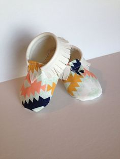Baby/Toddler moccasins White/ Tribal Ikat print size by PDPStudio