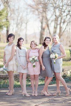 different colored bridesmaid dresses http://www.weddingchicks.com/2013/10/11/alabama-wedding/
