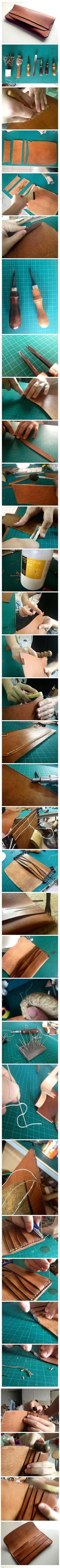 But such a good bag handmade Oh! More(Diy Bag Leather) Leather Art, Sewing Leather, Leather Pattern, Leather Design, Leather Tooling, Leather Clutch, Leather Purses, Leather Handbags, Crea Cuir