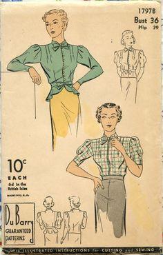 1930s Vintage Blouse Pattern DuBarry 1797B Ladies Blouse Peplum Waist Tie Collar Bust 36. $30.00, via Etsy.