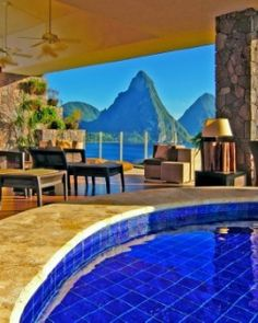 Jade Mountain - Soufriere, St. Lucia - the fourth wall is open with an infinity pool. HOLY poop do I want this