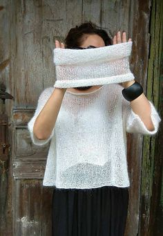 White mohair fluffy sweater Poncho with sleeves Trending now Mohair Sweater, Knitted Poncho, Crochet Shawl, Knit Crochet, Fluffy Sweater, Crochet Granny, Sweater Knitting Patterns, Baby Knitting, Knitting Sweaters